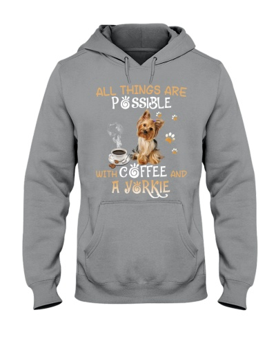 All things are possible with coffee and a yorkie