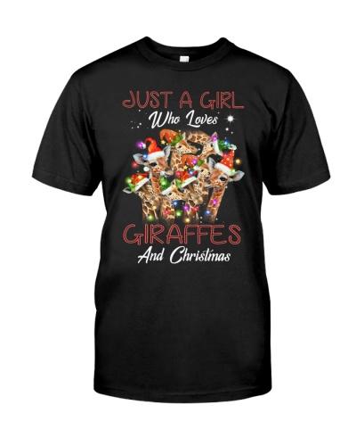 A girl loves christmas and giraffes