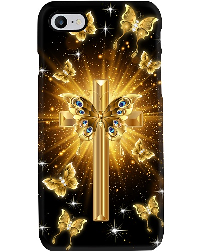 SHN Bright gold cross with butterfly Bibble case