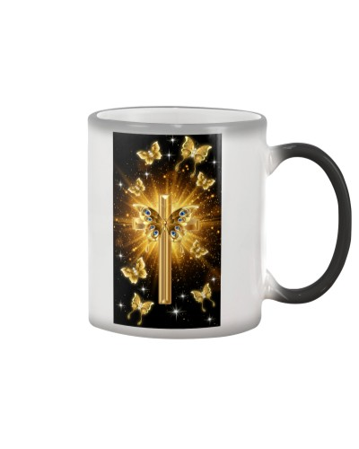 SHN Bright gold cross with butterfly Bibble case