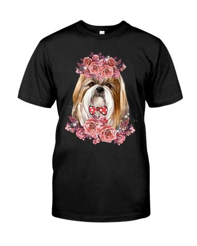Shih tzu with magic rose shirt