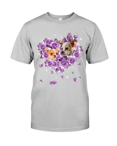 Chihuahua mom purple rose shirt