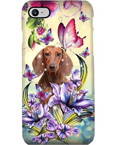 Dachshund With Purple Lily Phone Case