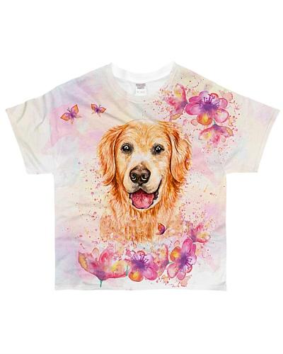Golden retriever water color infull summer shirt