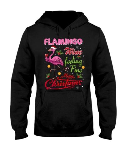 SHN Wine feeling fine Christmas Flamingo shirt