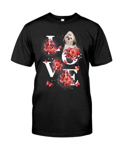Shihtzu love with red flower shirt