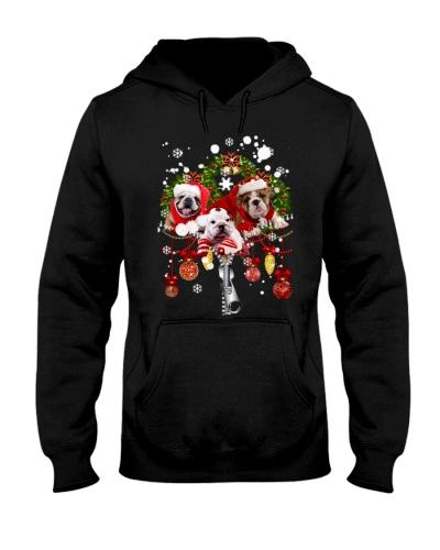 Qhn 7 Christmas Zip Bull Dog Hoodie