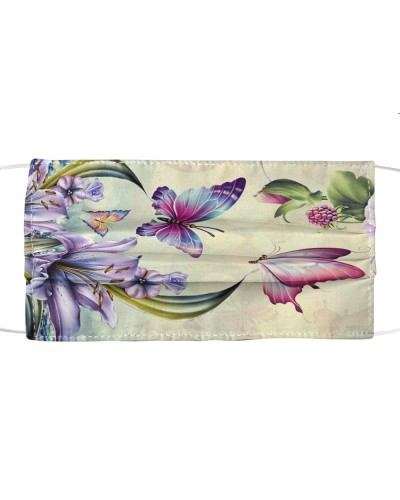 ln butterfly purple flowers face cover