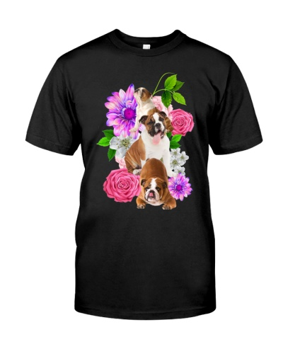 Bulldog family behind flower beautiful