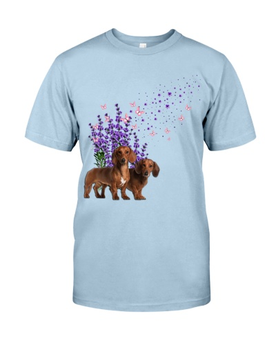 Cute Dachshund With Lavender Flower