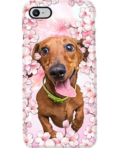 Ln dachshund pink peach blossom