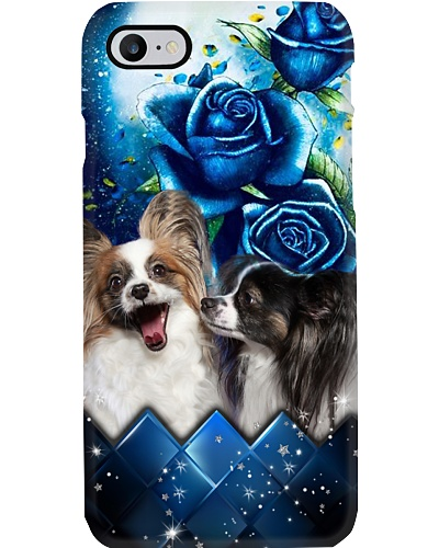 Papillon blue rose phone case