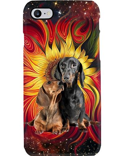 Sunflower Colorful Couple Dachshund Phone Case