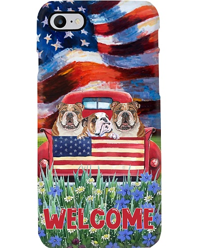 SHN Welcome USA garden red truck English Bulldog