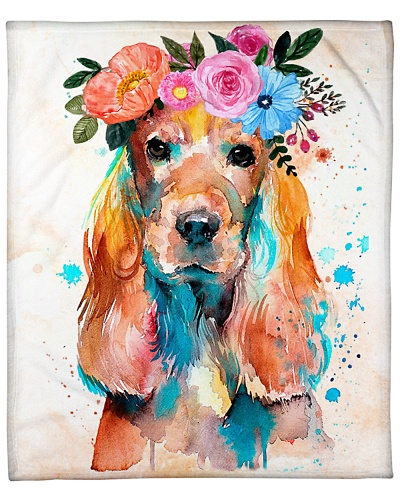ll 3 english cocker spaniel with flower spring