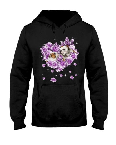 English bulldog mom purple rose shirt