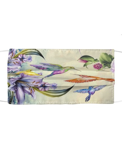 fn hummingbird purple flowers face cover