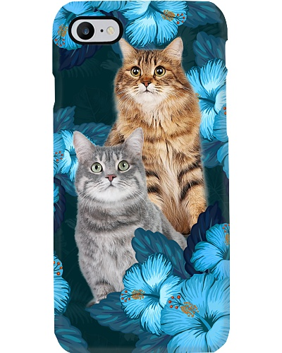 Cats blue hibiscus flowers phone case