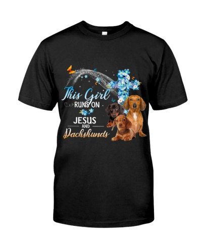 This girl runs on jesus and dachshund