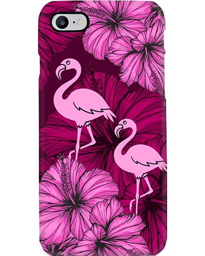 SHN 8 With pink hibiscus Flamingo phone case