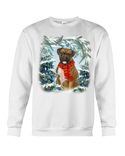 Boxer in snow forest