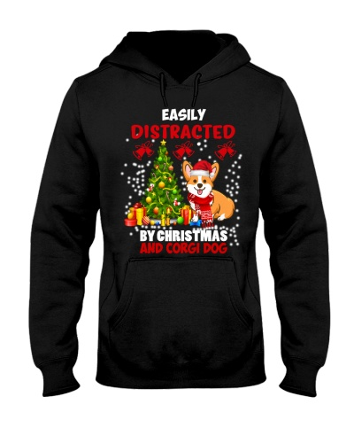 SHN Distracted by Christmas and Corgi shirt