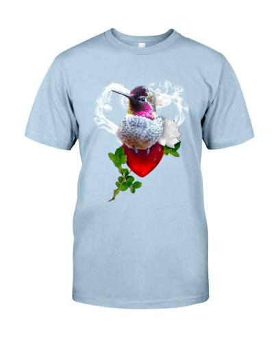Red diamond heart love Humming bird