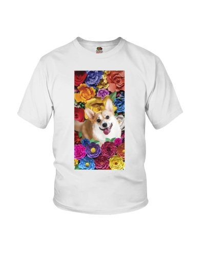 Corgi in flowers case