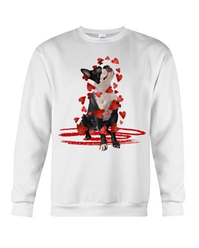 Boston terrier hearts fly around