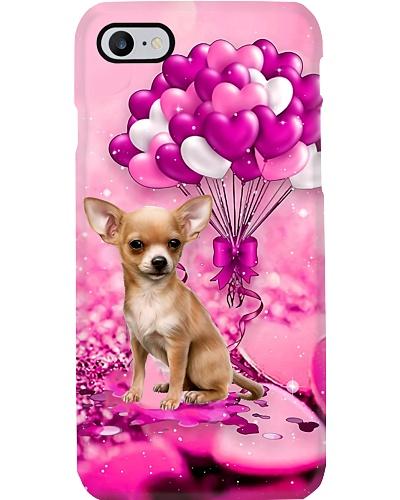 Chihuahua puppy heart balloon purple phone case