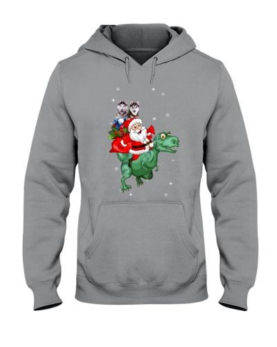 Dinosaur santa and Husky make christmas happy