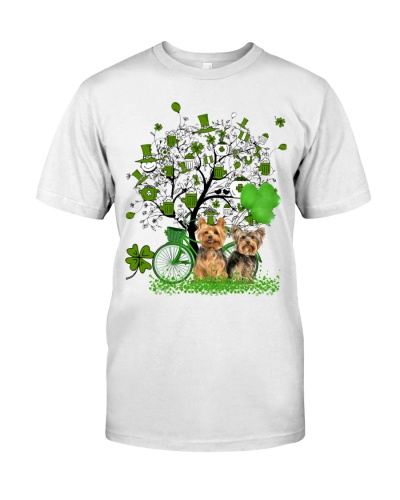 Yorkshire terrier with patrick's magical tree