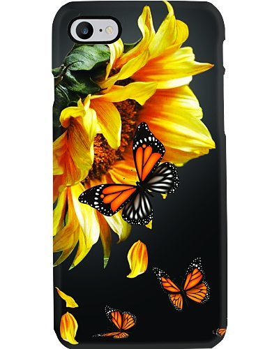 SHN Sunflower dark background Butterfly phone case