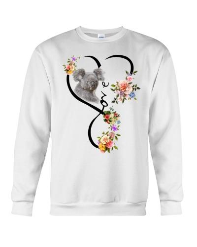 Koala love heart flowers
