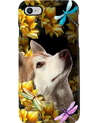 Siberian husky sunflower phone case