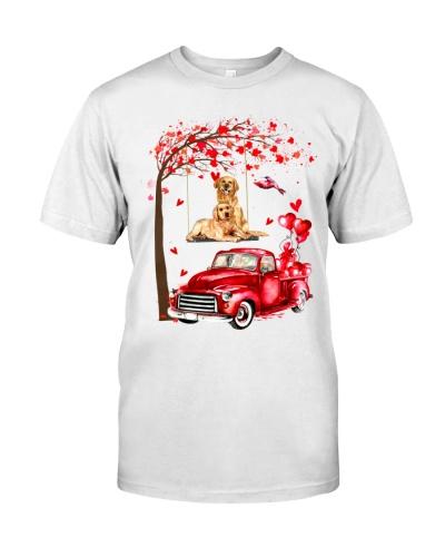 LT golden retriever couple with car heart shirt