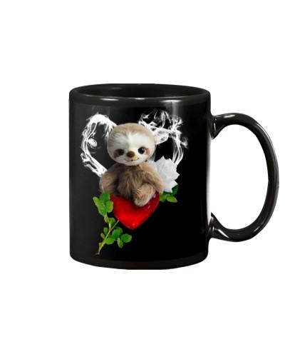 Red diamond heart love Sloth