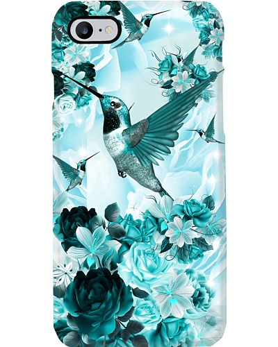 SHN 10 Teal roses Hummingbird phone case