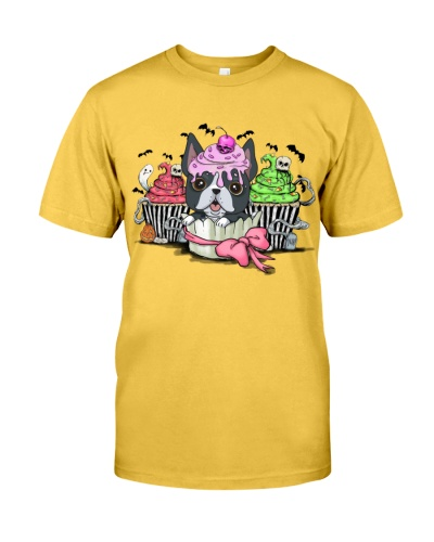 Boston terrier halloween yellow shirt