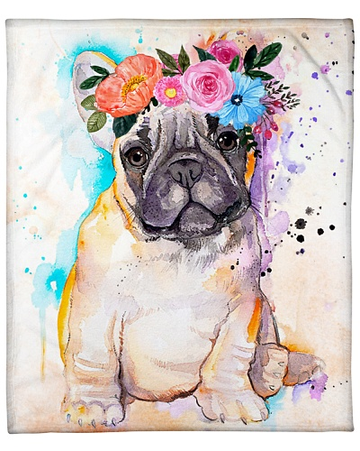 ll 3 french bulldog with flower spring