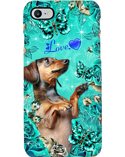 Dachshund Love Green Rose Phone Case