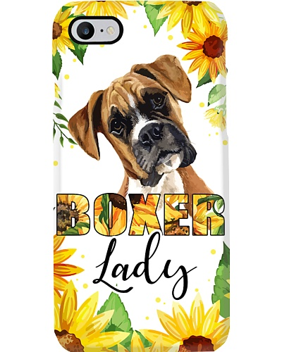 LT Boxer dog lady with sunflower phone case
