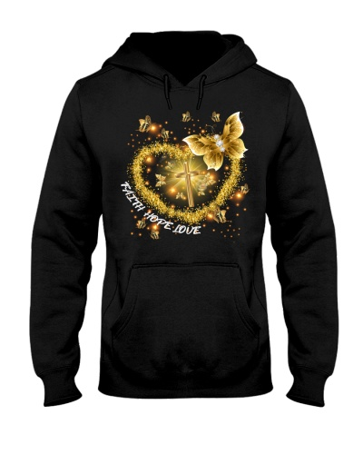 SHN Faith Hope Love Gold Cross Buttefly shirt