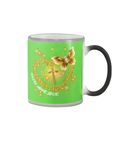 SHN Faith Hope Love Gold Cross Buttefly shirt