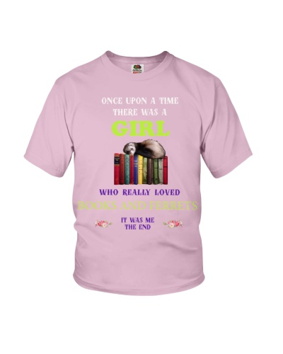 A girl who really love books and Ferrets shirt