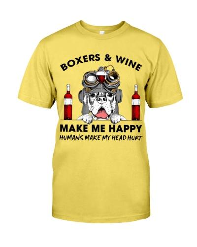 Boxer  and wine happy