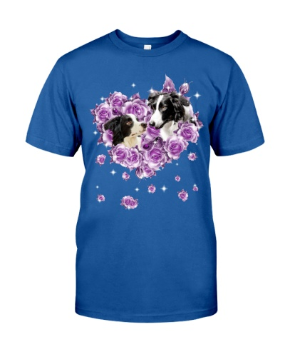 Border collie mom purple rose shirt