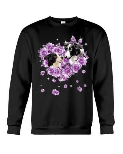 Border collie mom purple rose shirt
