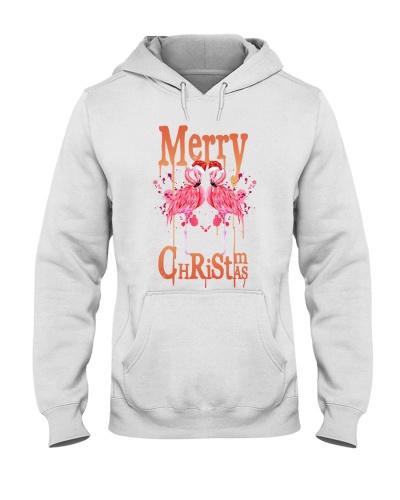 Flamingo watercolor merry christmas