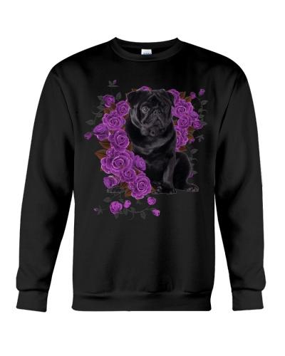 Pug purple roses